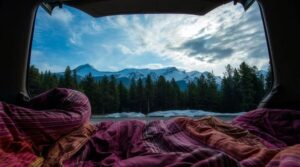 Car camping during the winter