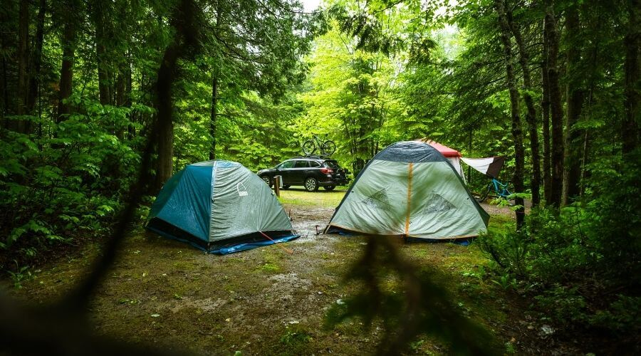 Tent camping in the forest while it's raining
