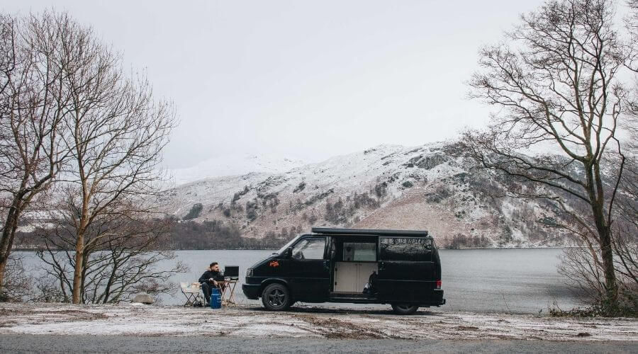 Camping in a car during winter