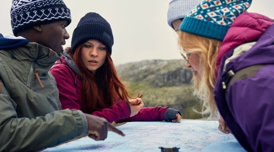 Friends planning a camping trip